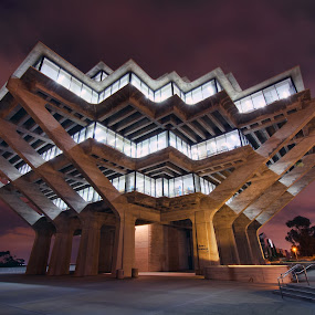 Geisel Library by Eddie Yerkish - Buildings & Architecture Public & Historical ( geisel, building, california, catinthehat, cat in the hat, architecture, nightscape, dr seuss, lights, san diego, library, night, nikon )