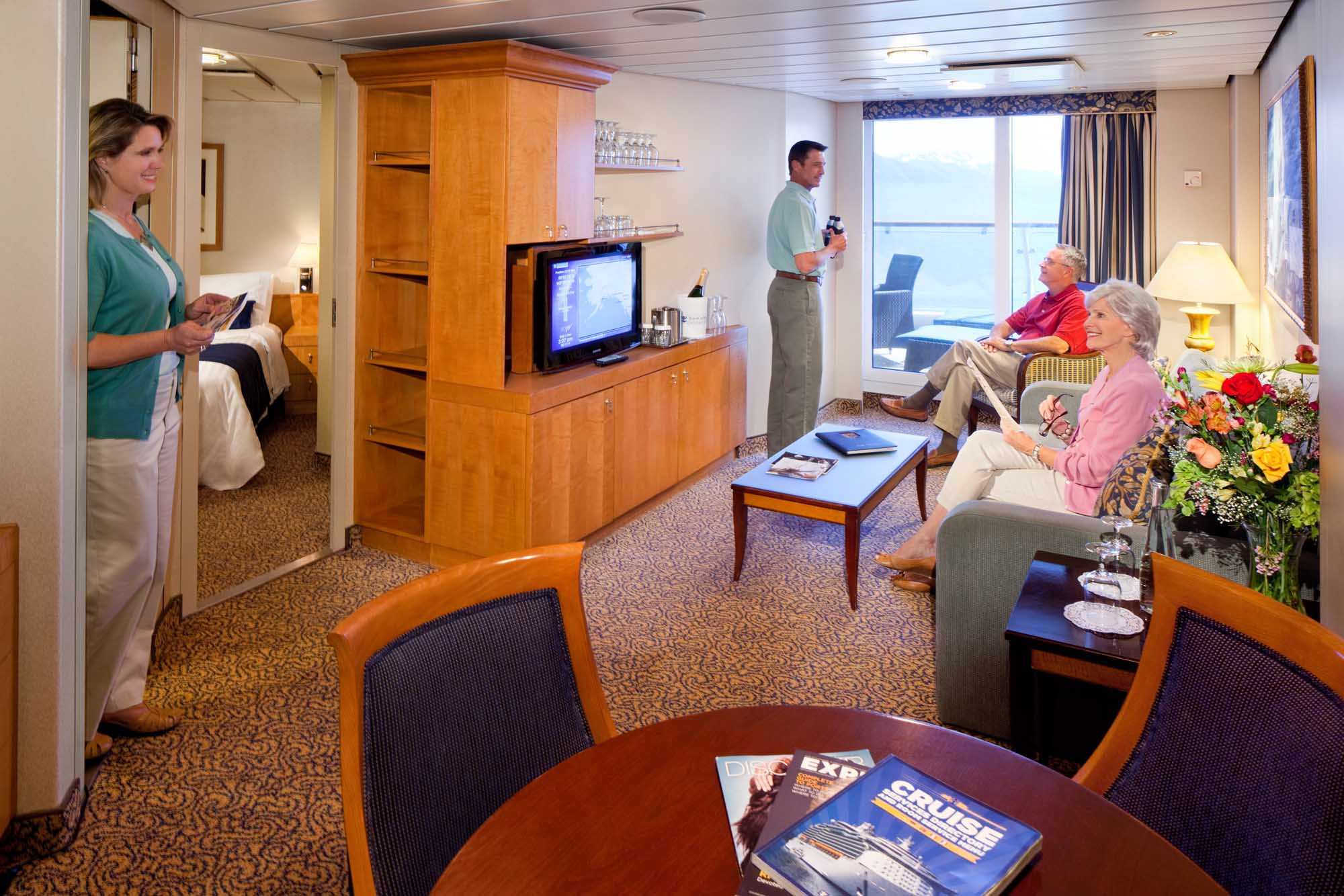 The Family Suite aboard Radiance of the Seas offers guests two bedrooms, two bathrooms and a separate living area and sofa bed.