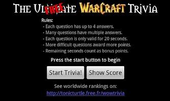 Screenshot of WoW Trivia - Free Version