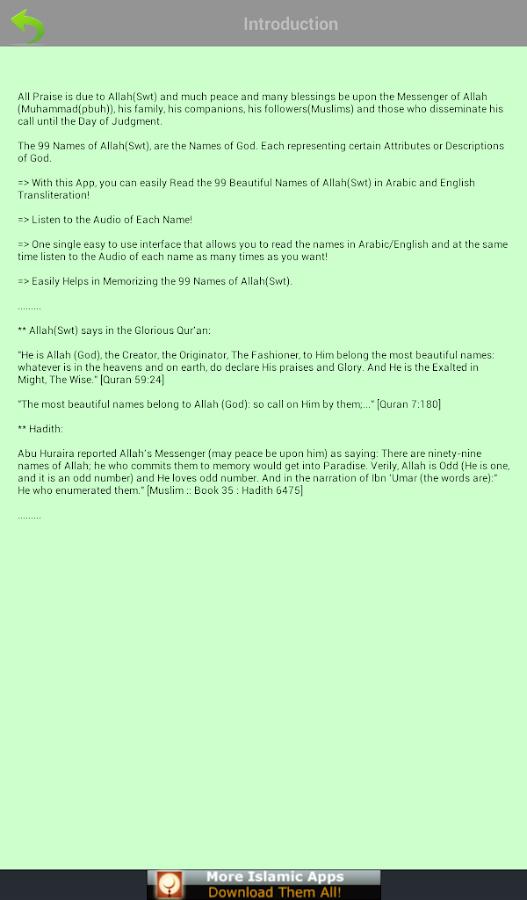 99 Allah Names (Islam)- screenshot