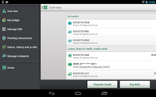 Screenshot of Desjardins mobile services