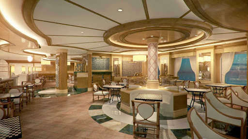 "Alfredos-Pizzeria-Princess-Cruises-2 - With 121 seats, Alfredo's Pizzeria aboard Royal Princess features freshly prepared Neapolitan-style pizzas, calzones, flatbreads and baked pasta. Princess calls it ""the largest complimentary pizza restaurant at sea."""