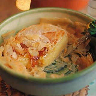 Baked Brie in Filo with Jam & Almonds.