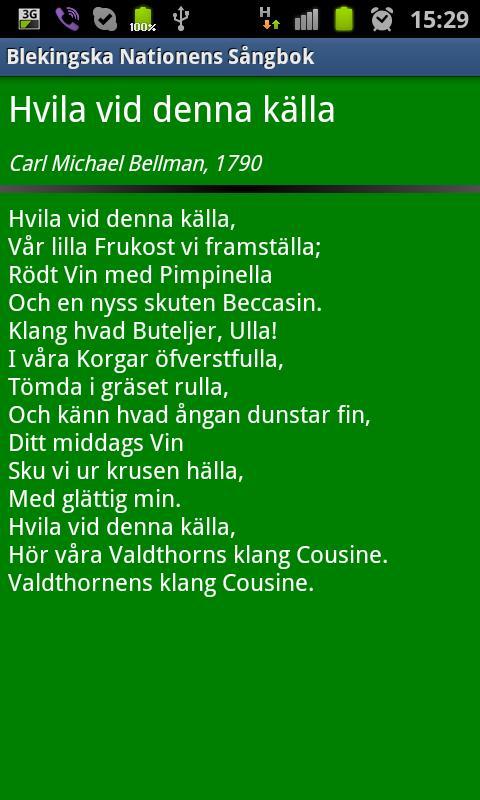 Blekingska Nationens Sångbok- screenshot