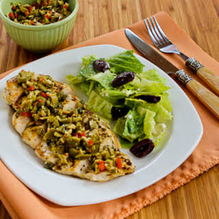 Pan-Grilled Chicken with Green Olive, Caper, and Lemon Relish.