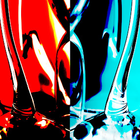 Classic Battle by Tj Barney - Illustration Abstract & Patterns ( glass art, red, color, blue, halo, glass, stem, redvsblue, shadows )