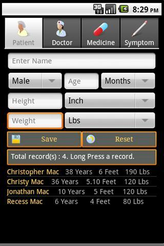 Health Record Book Lite - screenshot