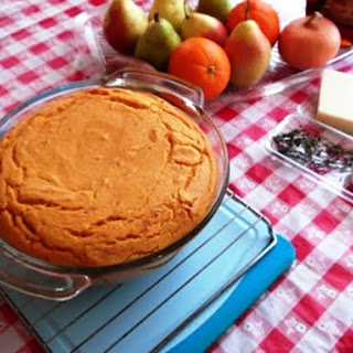 Savory Pear, Sweet-Potato and Maple Syrup Soufflé