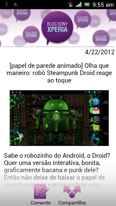 Blog Sony Xperia - screenshot