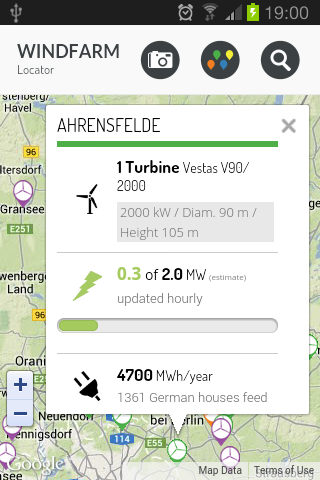 Windfarm Locator- screenshot