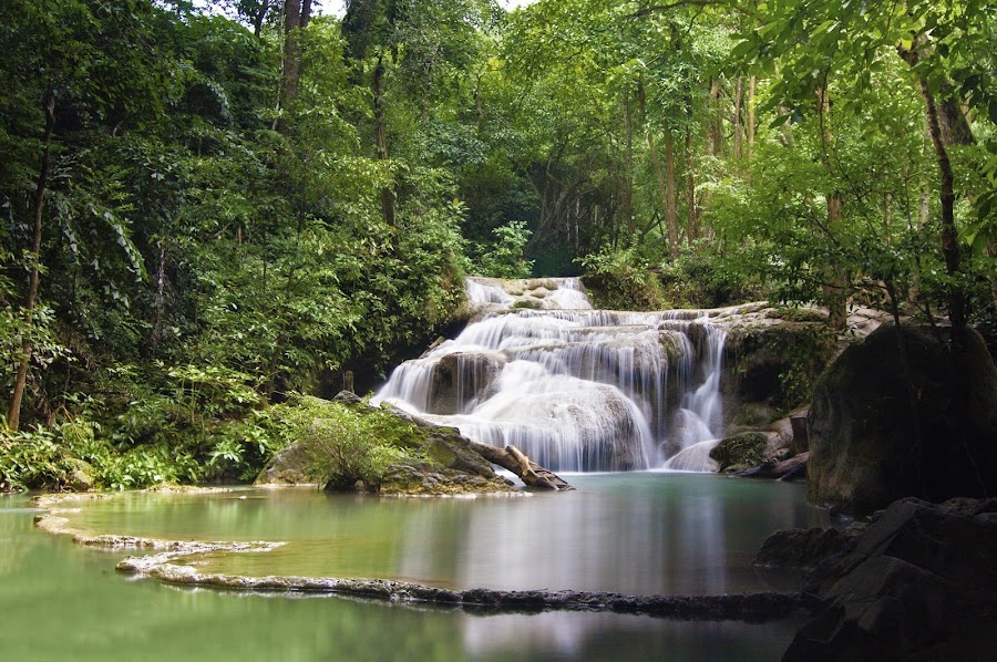Erawan National Park by Catchlights Fotografie - Landscapes Waterscapes ( exposure, water, erawan, park, national, shutter, tropical, asia, thailand, thai, paradise, long,  )