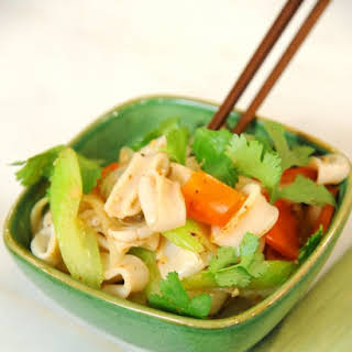 Stir-Fried Squid with Celery and Red Pepper.