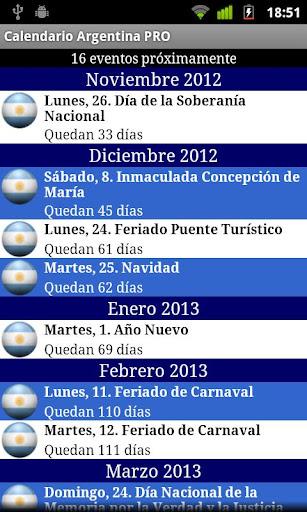 Calendario Argentina PRO