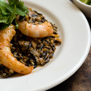Creamy Chipotle Shrimp With Mushrooms And Wild Rice.