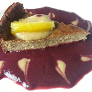 SUGAR-FREE Barley Oats Quinoa Cashew Orange Cake with Blackberry and Peach Puree.