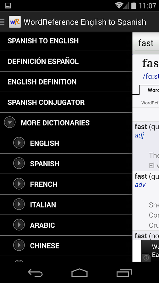 WordReference.com dictionaries - screenshot
