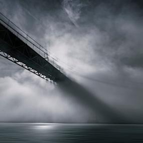 breaking through the dark by António Leão de Sousa - Buildings & Architecture Bridges & Suspended Structures ( canon, 25th april bridge, water, tagus, lisbon, waterscapes, rivers, bridges,  )