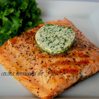 Roasted Salmon with Cilantro Butter.