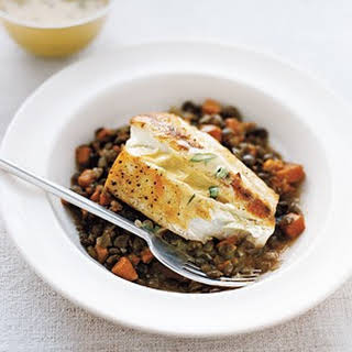 Halibut With Lentils and Mustard Sauce.