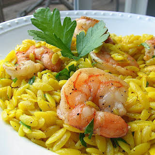 Saffron Orzo with Shrimp.