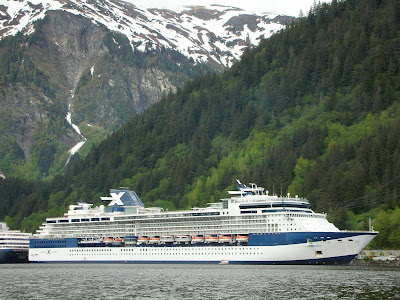 Celebrity Infinity docked in Juneau, Alaska.