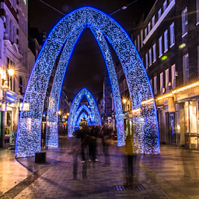 Ghost party by Nizam Akanjee - City,  Street & Park  Street Scenes ( oxford circus, ghost party, xmass lighting, night street, , city, night, christmas, decoration, object )