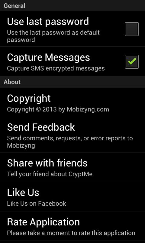 CryptMe (encrypt & send sms) - screenshot