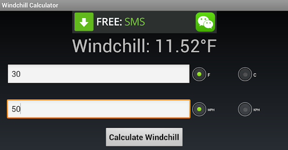 windchill calculator