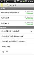 Screenshot of iCert 70-663 Practice Exam