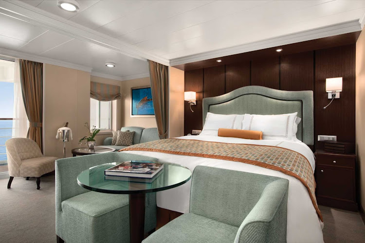 Luxuriate in the exquisite Penthouse Suite of Oceania Marina during your travels.
