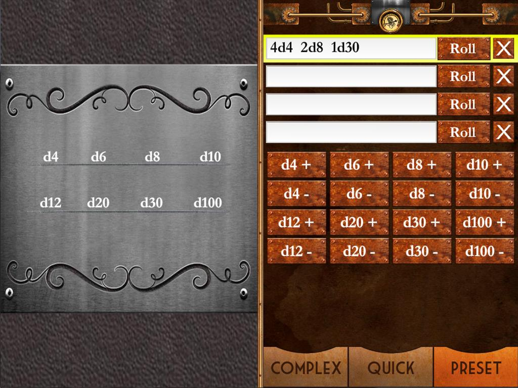 Steampunk Miracle Dice Roller- screenshot
