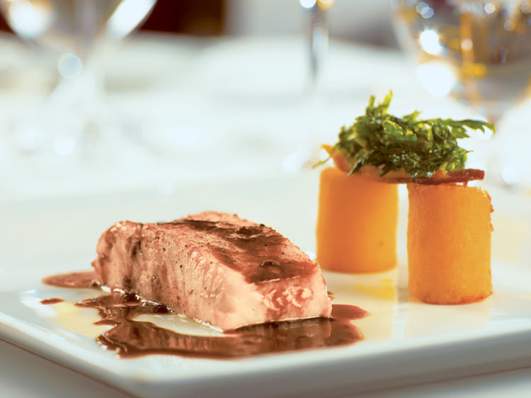 A fish entrée in L'Etoile, the main restaurant on Paul Gauguin Cruises' Tere Moana.