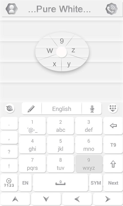 Pure White GO Keyboard Theme- screenshot