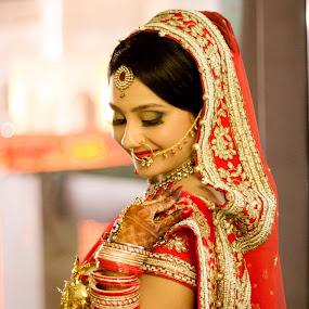 Waiting with a smile by Shrey Chohan - Wedding Bride ( love, shreychohan, weddingcandid, candid, bride and groom, bride )