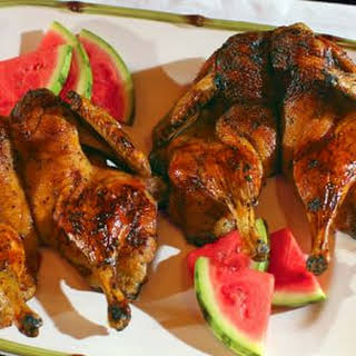 Butterflied Grilled Duck with Spicy Watermelon Glaze.