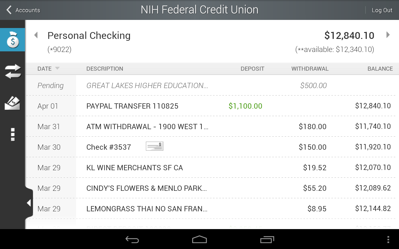 NIHFCU Mobile Banking - screenshot