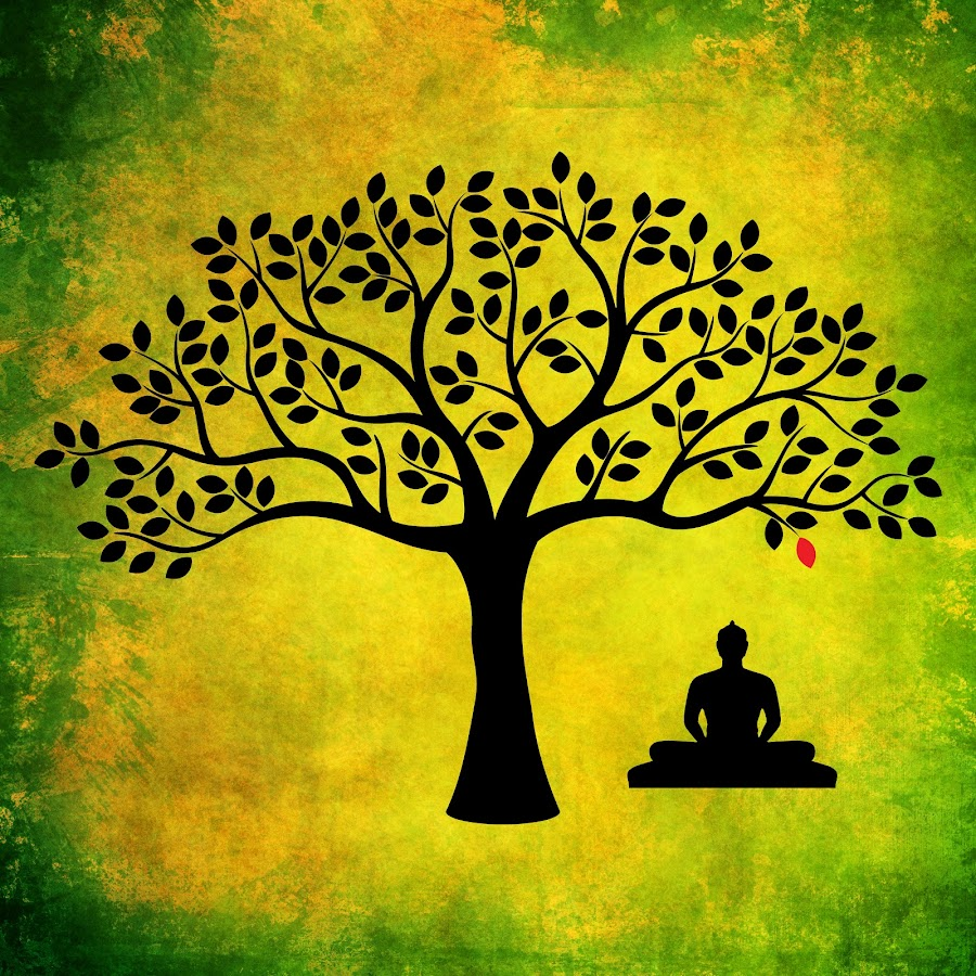 Sitting by Brian Lyne - Illustration Flowers & Nature ( red, nature, tree, green, oregon artists, meditation, black, buddha )