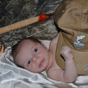 Aspiring Fly Fisherman of the Future by Linda Labbe - People Family ( fishing cap, baby, fishing rod, fly fishing )