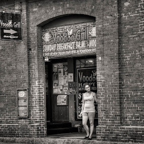At the Voodoo Grill by John Hoey - Black & White Street & Candid ( mystic, b&w, new england, woman, smoking, digital, 5d mark iii, ct, dslr, voodoo grill,  )
