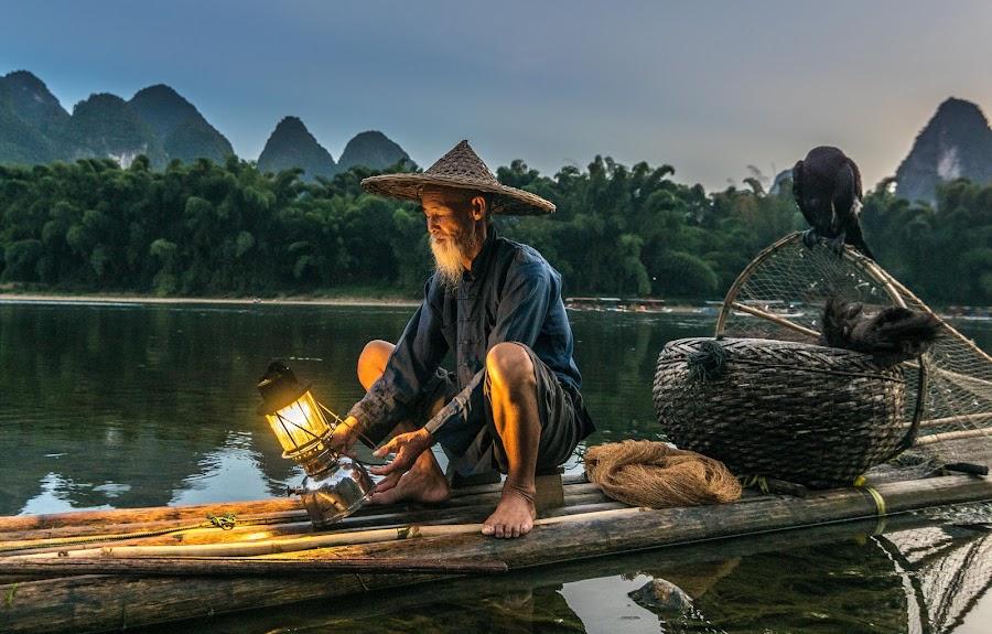 by Shalabh Sharma - People Professional People ( yangshuo, li river, fisherman, guilin, guangxi, china )