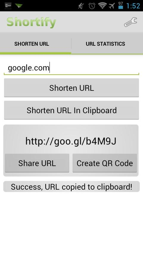 Shortify! Goo.gl URL Shortener - screenshot