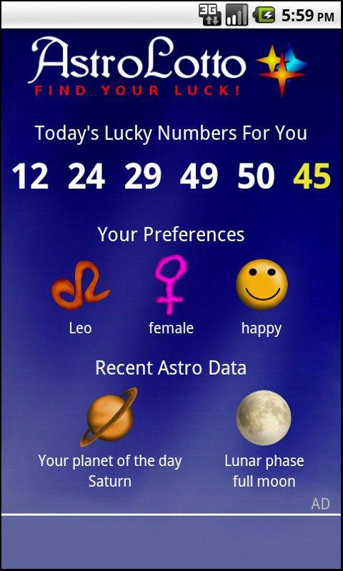 Astro Lotto- screenshot