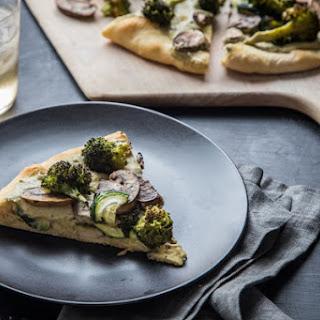 Roasted Vegetable and White Bean Pesto Hummus Pizza.