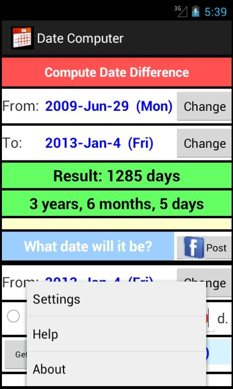 Date Computer - screenshot