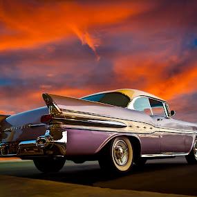 Pontiac Sunset by Boyd Smith - Transportation Automobiles ( classic car, white walls, sunset, pontiac )