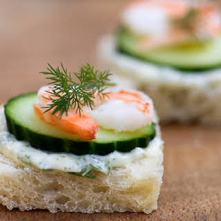 Shrimp, Brie and Cucumber Tea Sandwiches.