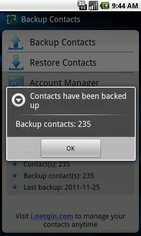 Contacts Backup & Restore - screenshot