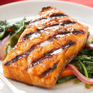 Grilled Chipotle Maple Salmon with Wilted Spinach.