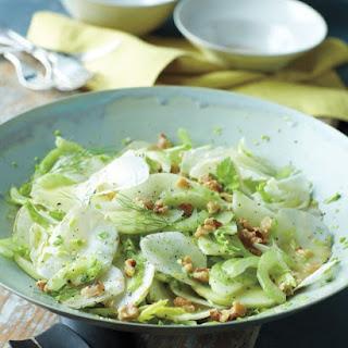 Celery, Sunchoke, and Green Apple Salad with Walnuts and Mustard Vinaigrette.