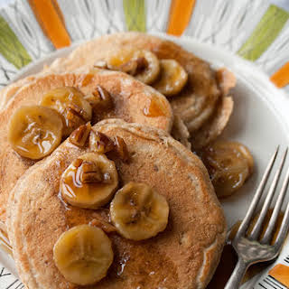 Multigrain Pancakes with Bananas Foster Syrup.